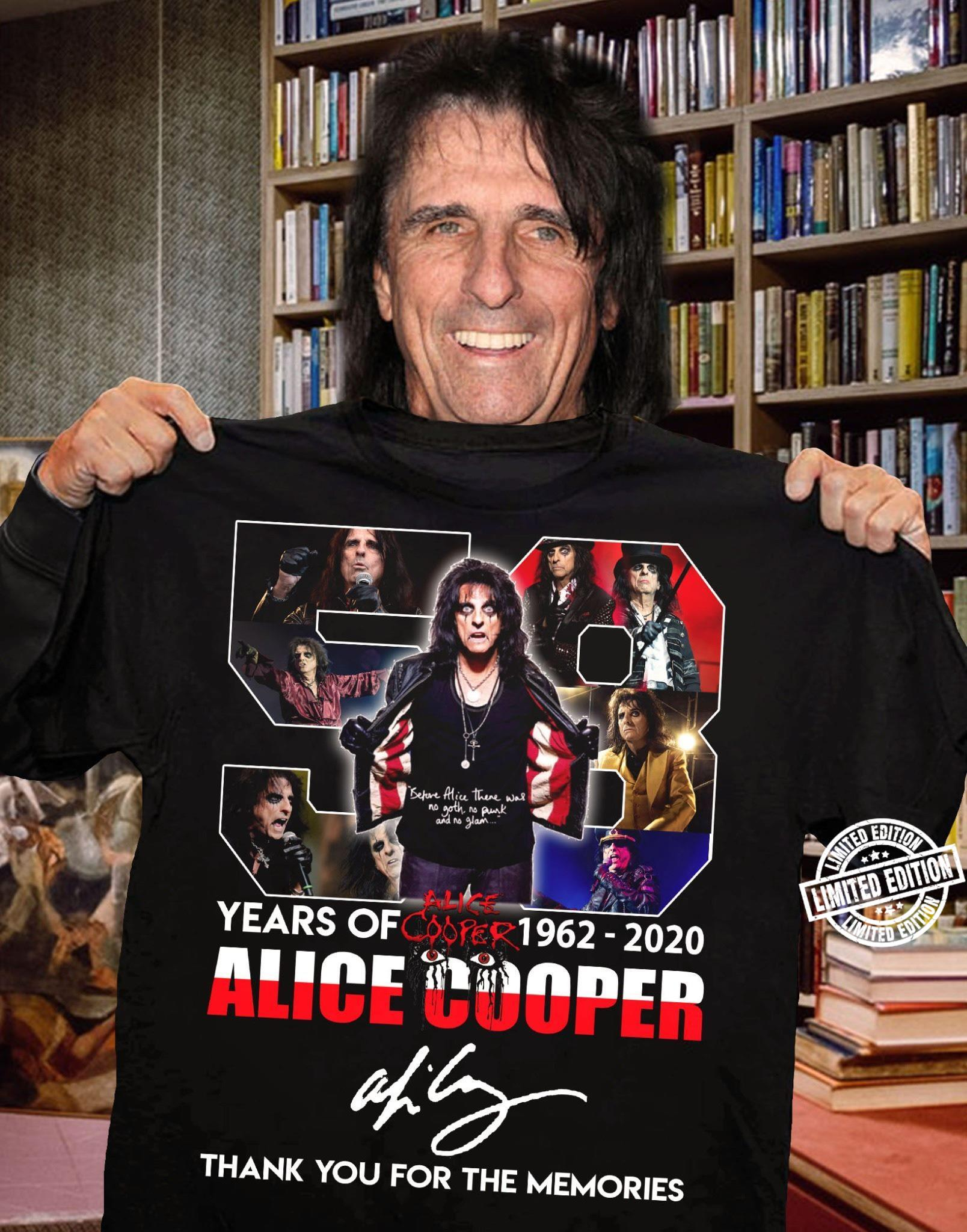 Years of 1962-2020 alice cooper thank you for the memories shirt